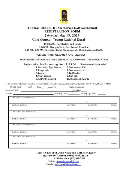 2019 TR III Memorial Golf Tournament Reg