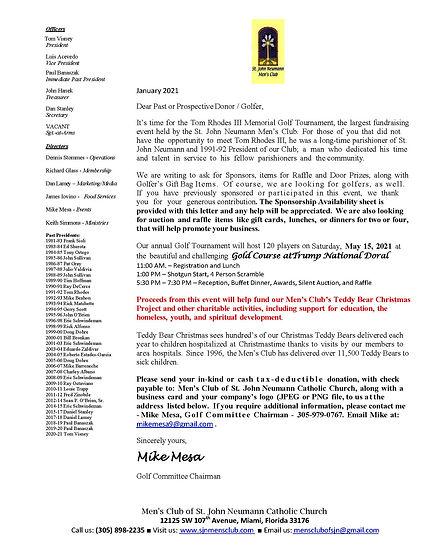 SJN Men's Club Donation Letter & Sponsor
