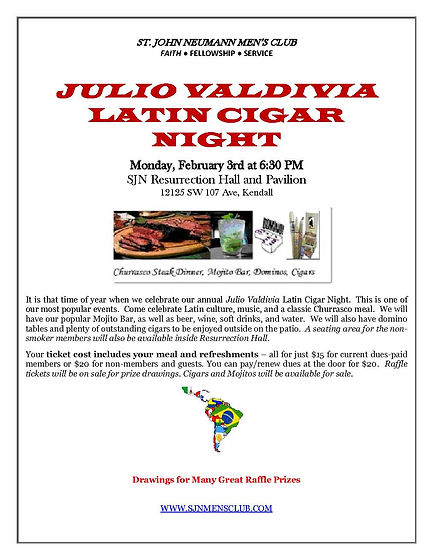 February Latin Cigar Night Dinner  flyer
