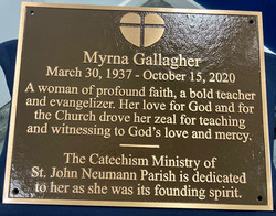 Tribute Plaque for SJN Religious Education Building donated by Men's Club