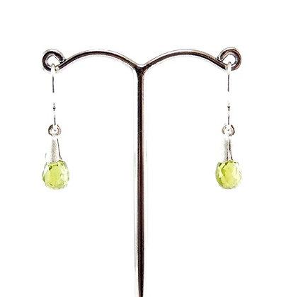 Sterling silver dangles with briolettte cut peridot gem drop earrings