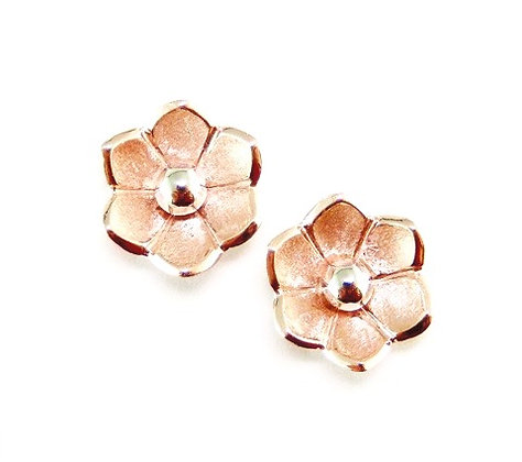 Red & White Flora Studs