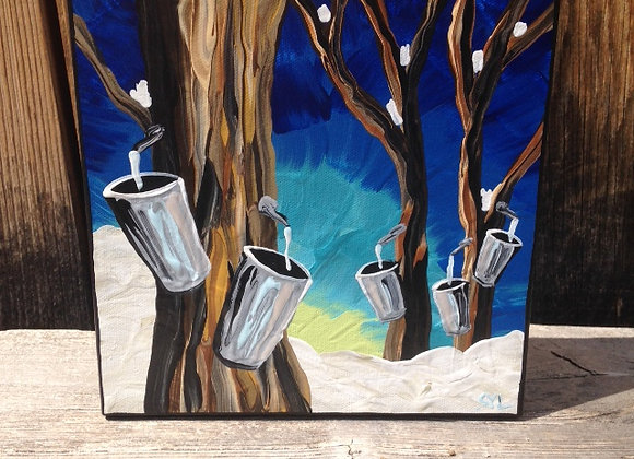 """8"""" x 8"""" Painting - """"The sap is running at Fultons!"""""""