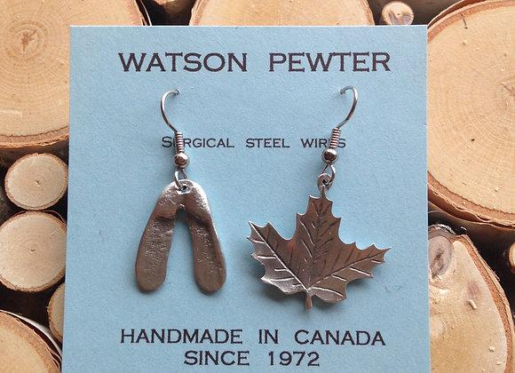 Pewter Maple Leaf & Key Drop Earrings