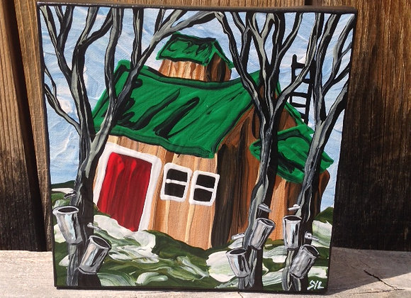 "4"" x 4"" Painting - ""Modern Sugar Camp"""