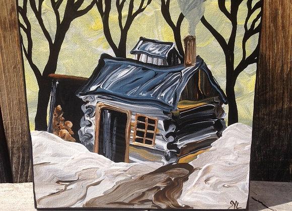 "4"" x 4"" Painting - ""Fulton's Original Sugar Camp"""