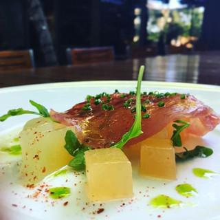 Tuna carpaccio with heirloom melons _blo