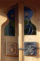 Roulotte à thème orientale, porte en bois, serrure Maroc