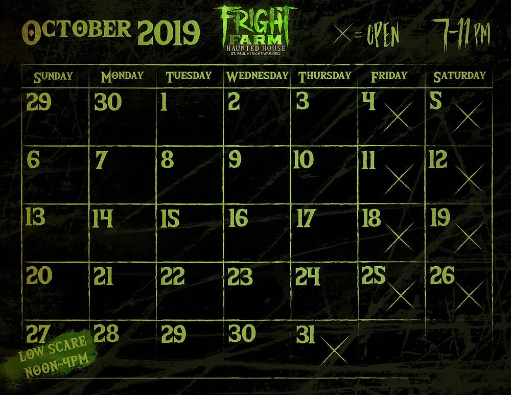 2019 Fright Farm Event Calendar