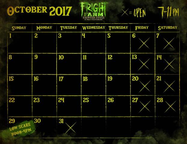 2017 Fright Farm Calendar