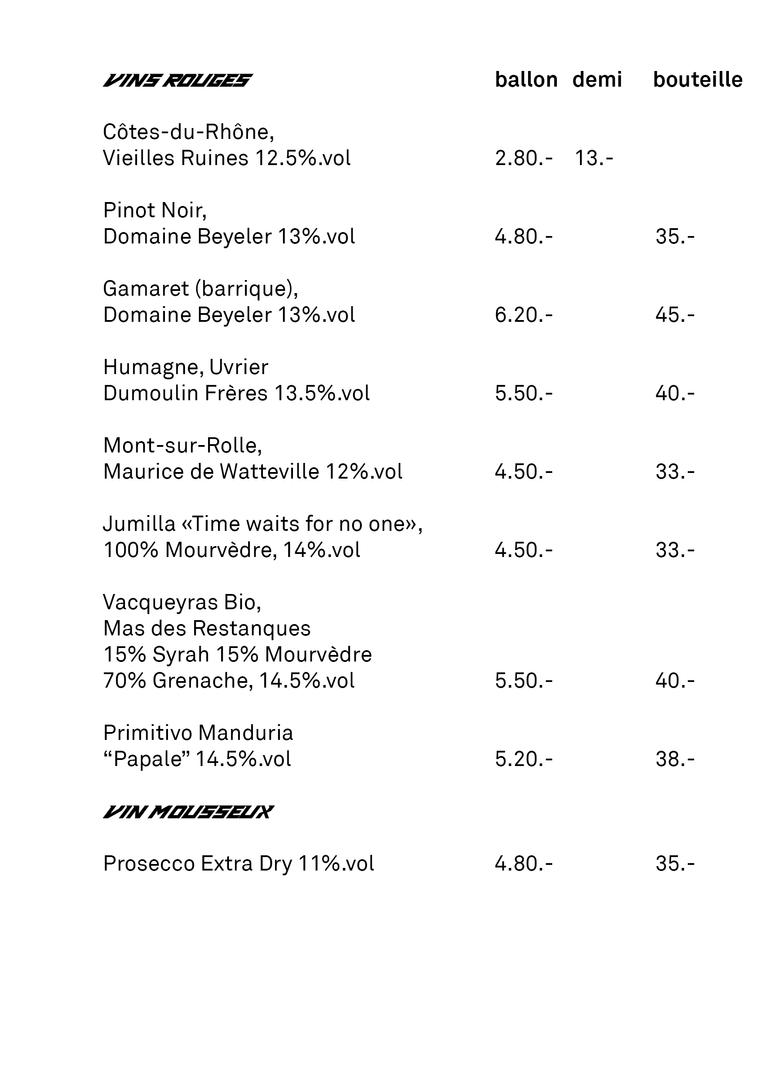 Vins rouge & Mousseux