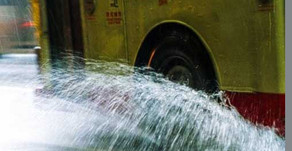 Buses, puddles and wind