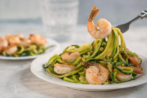 cilantro, lime, shrimp, zucchini, noodles