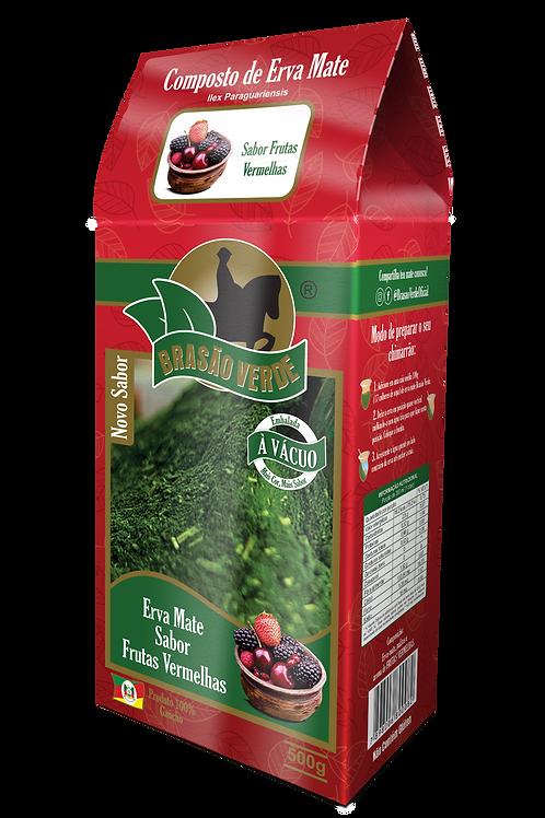 Erva Mate Brasão Verde Sabor Frutas Vermelhas