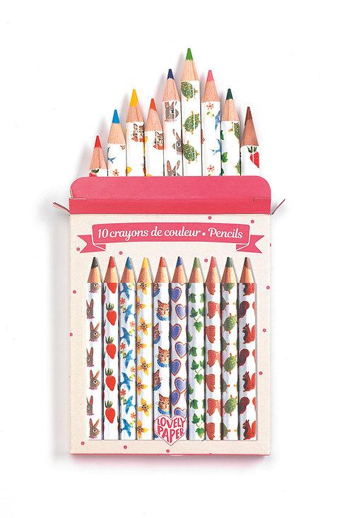 Djeco 10 Mini Farbstifte Aiko