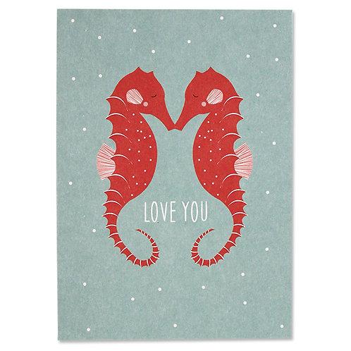 "ava&yves Karton-Postkarte Seepferdchen ""Love You"""