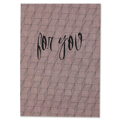 "ava&yves Karton-Postkarte Streifenspiel altrosa – ""For You"""