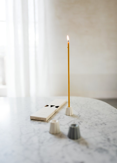 OVO Things Porcelain Candle Holder - matte white
