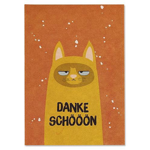 """ava&yves Karton-Postkarte Katze – """"Dankeschööön"""""""