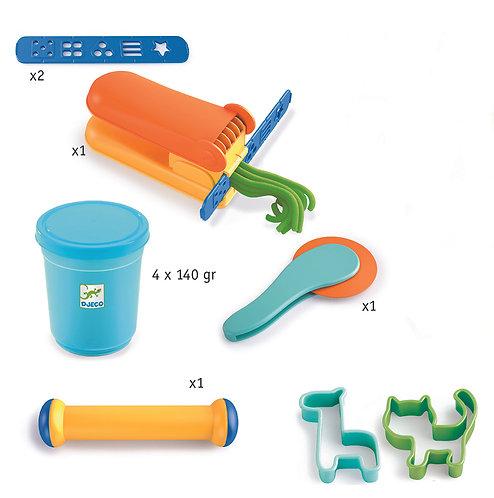 Djeco Startset Knete (4 Farben, 17 Werkzeuge)