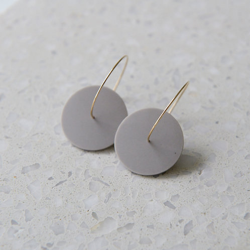 Double circle minimalistic earrings with grey porcelain piece