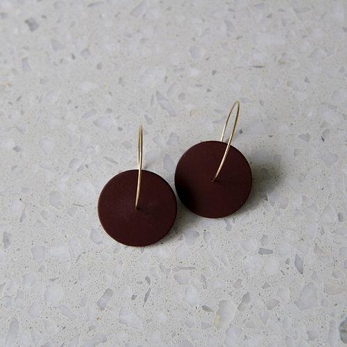 Double circle minimalistic earrings with bordo porcelain piece