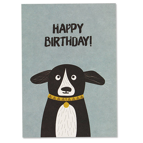 "ava&yves Karton-Postkarte Hund – ""Happy Birthday"""