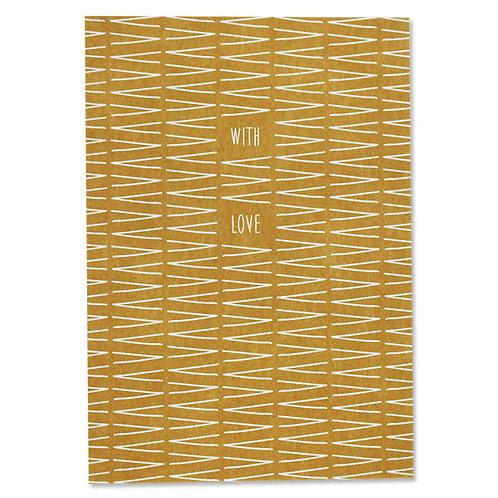 """ava&yves Karton-Postkarte VVV gelb """"With Love"""""""