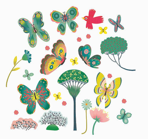 Djeco Fensteraufkleber Schmetterlinge