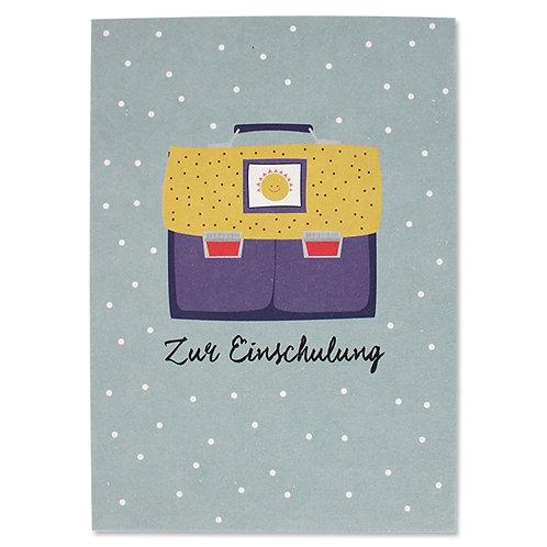 """ava&yves Karton-Postkarte Schulranzen blau/gelb Sonne """"Zur Einschulung"""