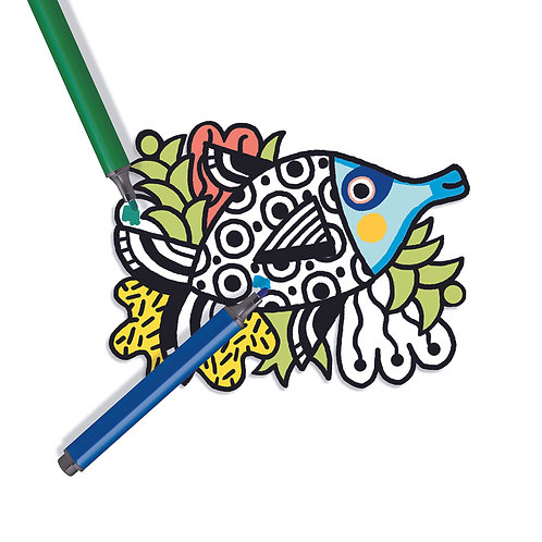 Djeco Malbuch Samt Fische
