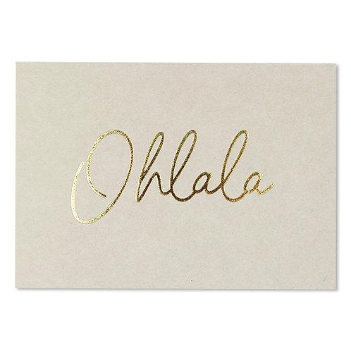 ava&yves Karton-Postkarte creme mit Goldeffekten – Ohlala