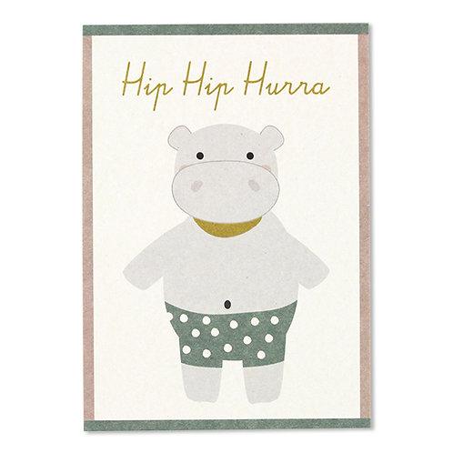 ava&yves Karton-Postkarte Nilpferd – Hip Hip Hurra