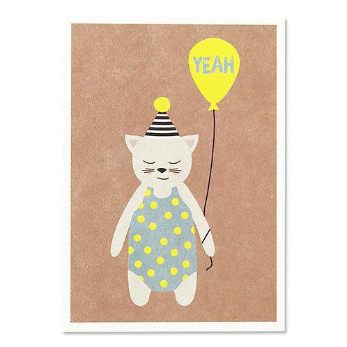 "ava&yves Karton-Postkarte Katze mit Hütchen – ""Yeah"""