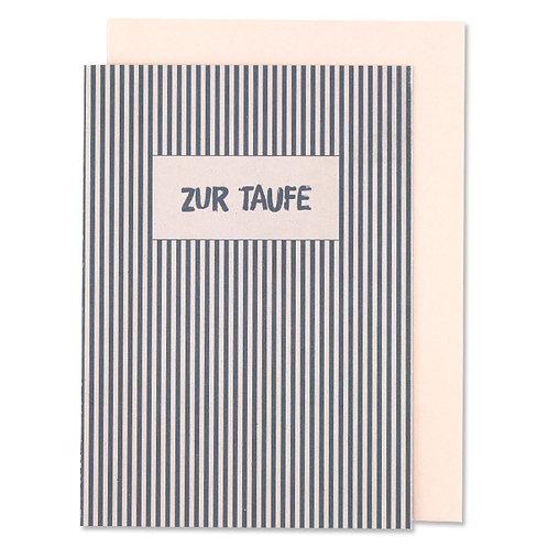 """ava&yves Klappkarte Streifen blau/rose – """"Zur Taufe"""""""