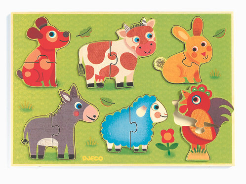 Djeco Holzpuzzle Coucou cow