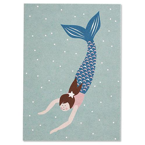 ava&yves Karton-Postkarte Meerjungfrau
