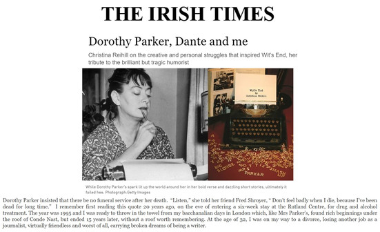 Irish Times, CR Dorothy Parker, Dante an