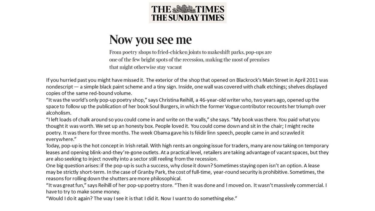 Sunday Times, Ed Power, SoulBurgers, Aug