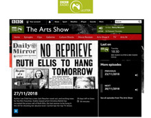 BBC Radio Ulster, The Arts Show, 27 11 2