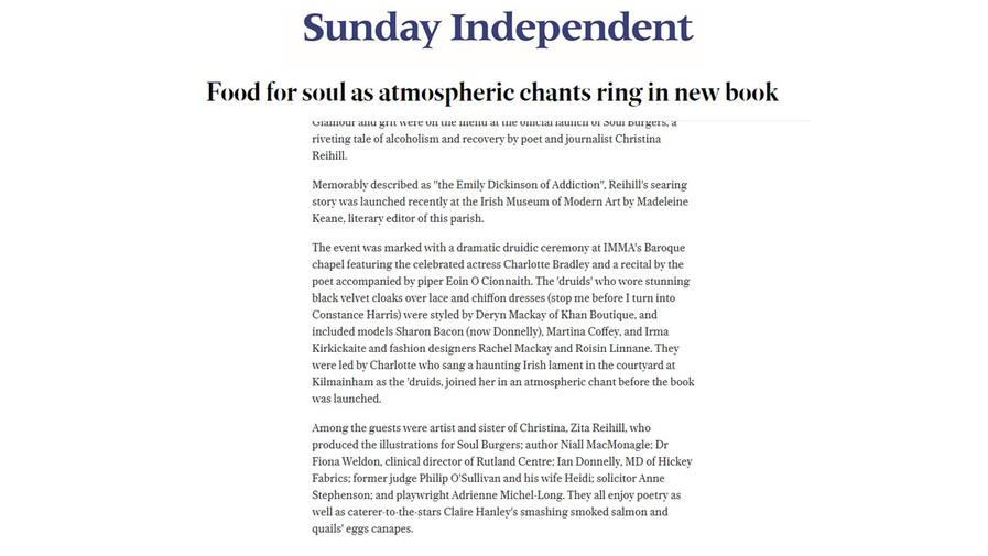 Sunday Independent, Druids, Barry Egan 2