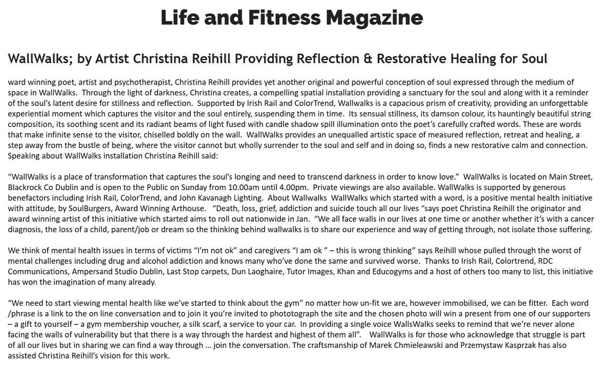 Life & Fitness Magazine, WallWalks, 17 0