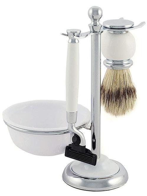Shaving Stand 4 Piece With Mach 3 Razor (White)