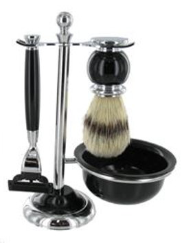 Shaving Stand 4 Piece With Mach 3 Razor (Black)