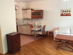 salon z kuchnią przed aranżacją