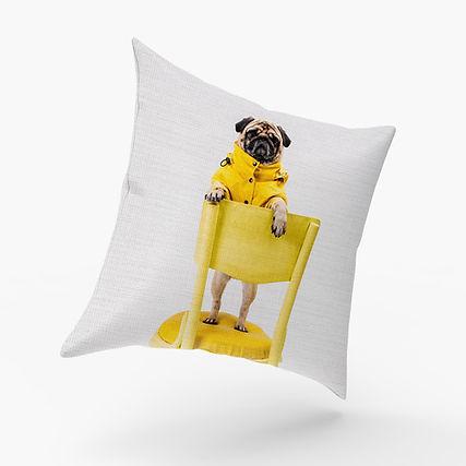 Pillow Pug Dog Yellow Chair Cushion Printing Face pillow chair