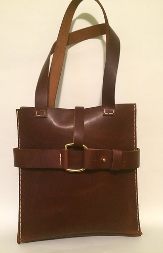 Large Rustic Shoulder Bag w Raw Edge Pocket