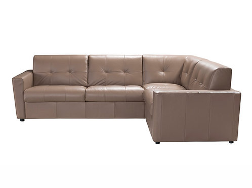 Sogna Sectional Sofa w/Sleeper Taupe Leather