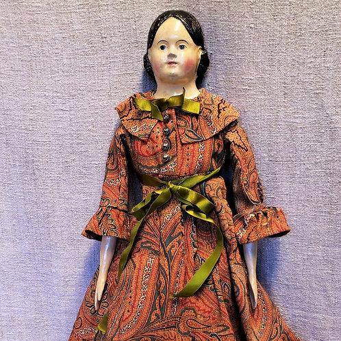"Beautiful Rare 24"" Antique Papier Mache Milliner Doll"