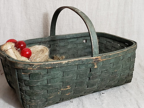Antique Farm Basket in Good Green Paint